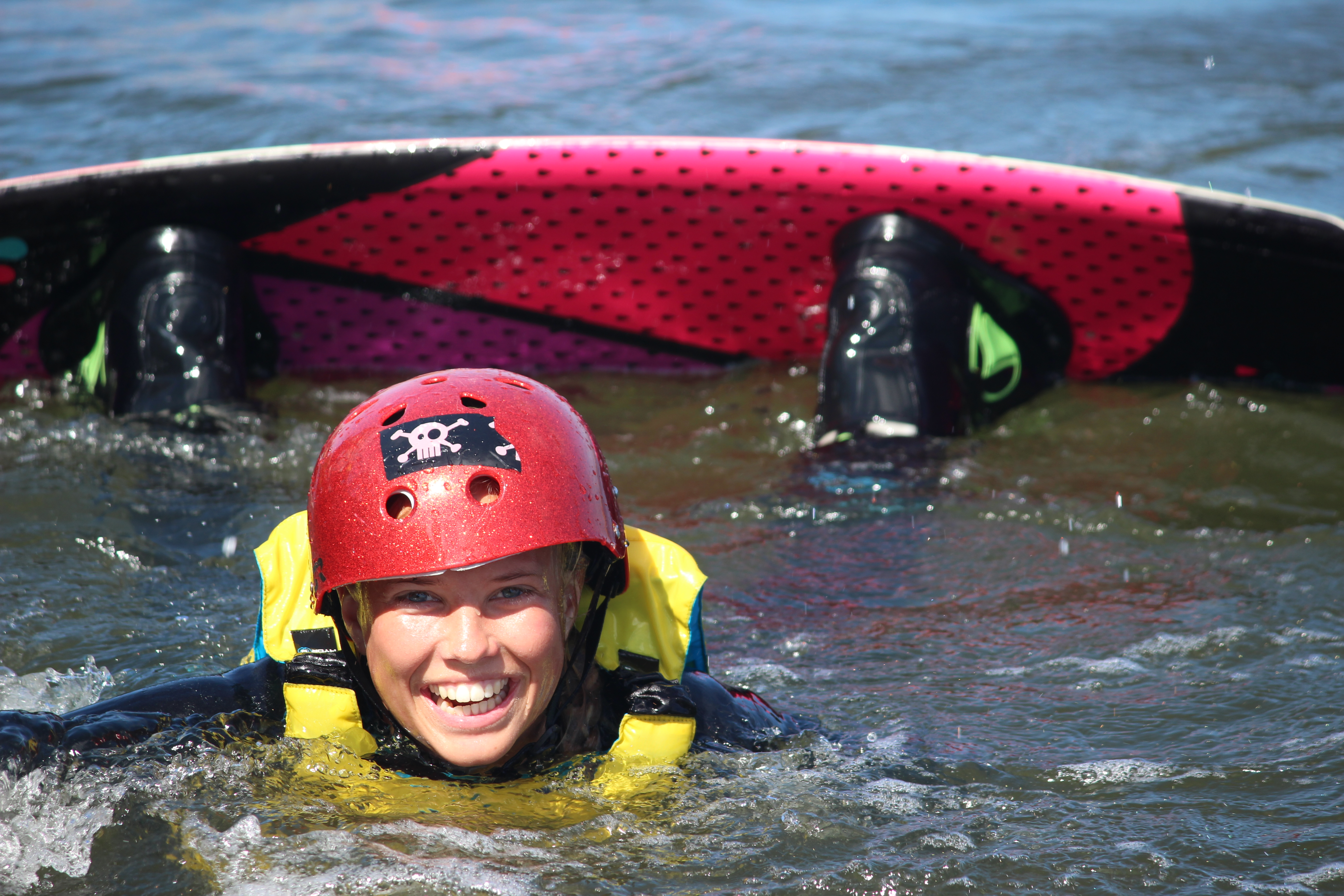 Happy wakeboarder