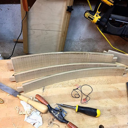 Back rails with tenons and curves sawed out. Now to fair & smooth them