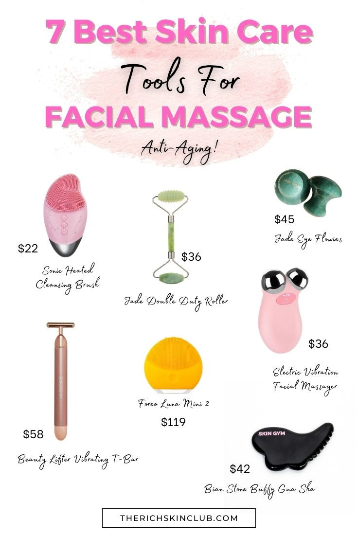 5 Anti-Aging Benefits of Daily Facial Massage. Adding a 2 minute facial massage to your daily skin care regime can greatly improve your skin. Click the pin to learn how facial massage reduces wrinkles, tones your face, gets rid of under eye dark circles and puffiness, and increases hydration and elasticity. Plus get the 7 best facial massage rollers, skin care devices and tools. #beautygadgets #skincaretools #guashatools #getridofwrinkles #detoxfacialmassage