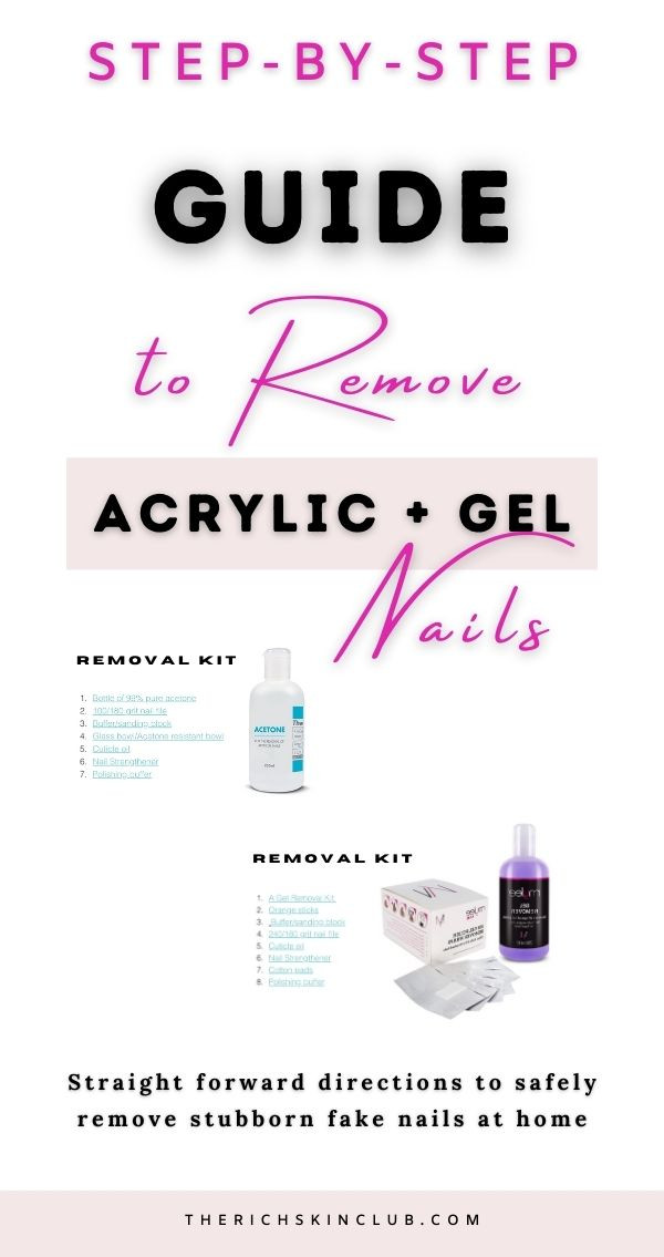 EASY Step by Step Guide To SAFELY Remove Acrylic & Gel Nails At Home. The simplest way to remove stubborn fake nails at home with minimal fuss and removal kit. #howtoremoveacrylicnails #acrylicnails #nailcare #removefakenailsathome