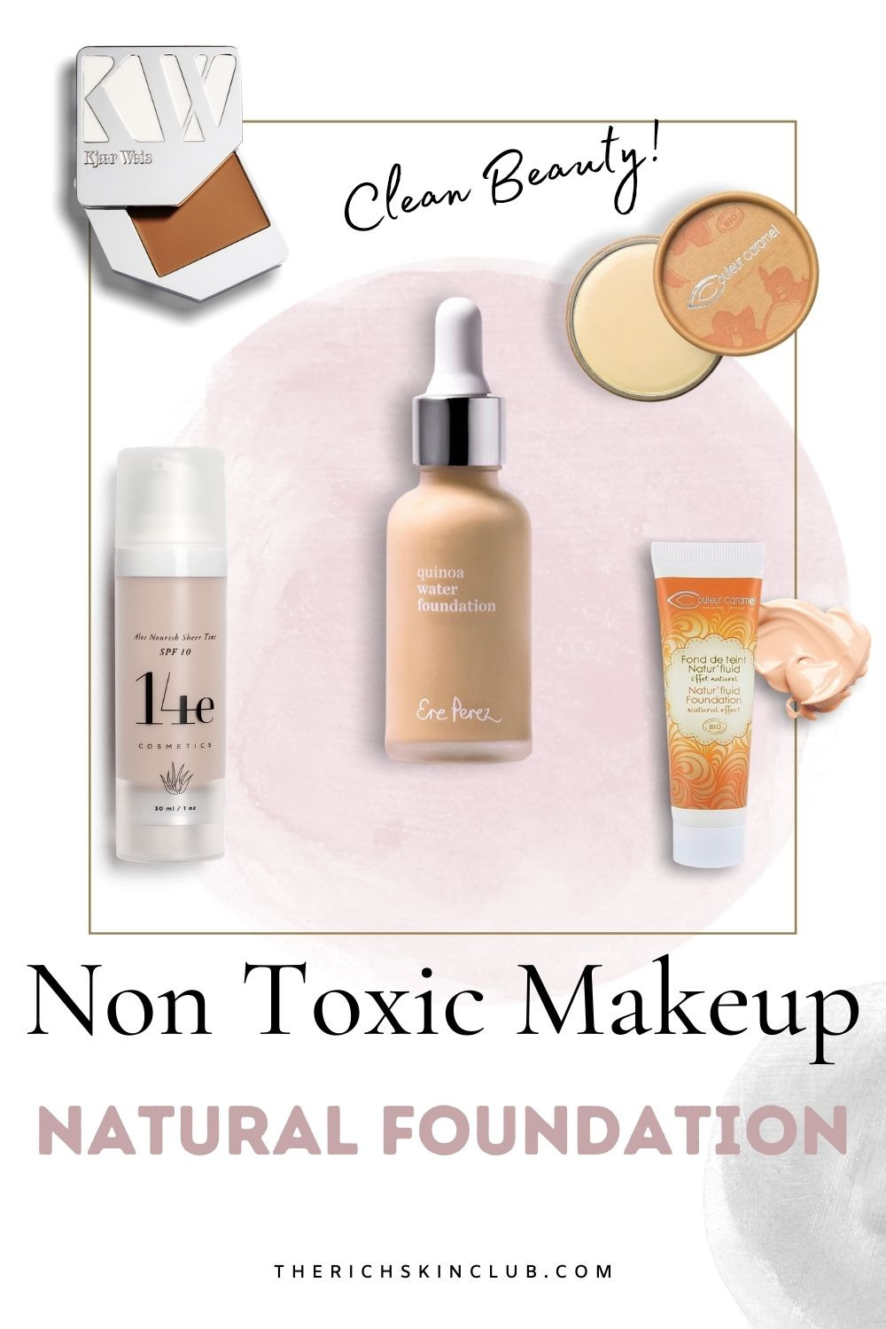 Are you tired of clogging your pores with toxic foundation? Me too! That's why I choose these products that contain Anti-Aging Skin Care Ingredients! Check out my top fav clean beauty makeup brands for safer, healthier, non toxic makeup. Switch your old toxic makeup for Clean Beauty Makeup Dupes #nontoxicmakeup #cleanbeautyproducts #organicmakeup #naturalmakeup #organicfoundation