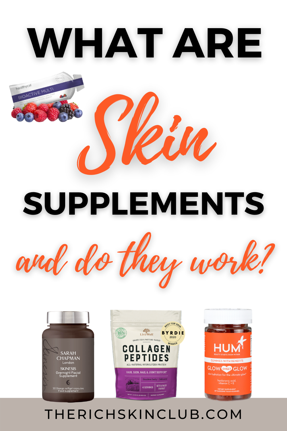 How do you choose NATURAL Skin Supplements? Skin nutrition covers a wide group of macro and micronutrients such as phytonutrients, healthy fats, protein, minerals, and vitamins that have powerful benefits for your skin, hair, and nails. Fruit, leafy greens, root veggies, nuts, seeds, protein-rich meat, and oily fish are just some of the foods we need in order to get our daily dose of beauty nutrients. But, who eats like this every day? Check out my list of top beauty nutrients  to look for when buying the best beauty supplements for anti-aging. #BestSkinSupplementsVitamins #BeautySupplementsNatural #SkinCareSupplementsAntiAging