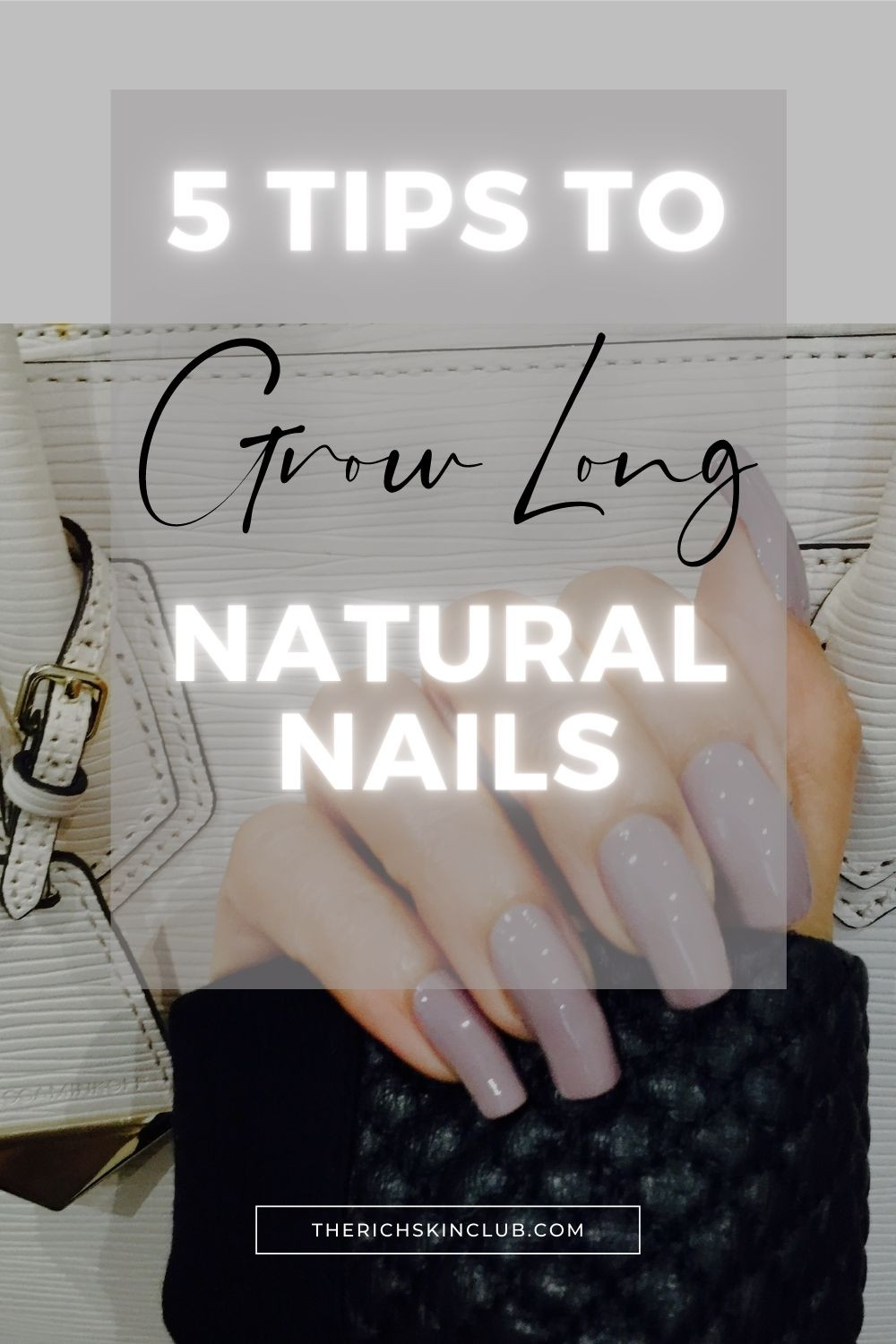 A Magic Formula To Grow Long, Strong, Healthy Nails. A step by step guide to natural nail care for fast nail growth. Click the pin for 5 steps to strong, healthy nails that won't split or break. With regular care your nails can grow long and beautiful! #strengthennailsnaturally #naturalnailgrowth #naturalnails #howtogrowyournails