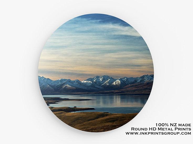 Lake Tekapo, NZ Large Round HD Metal Print. Landscape M0022