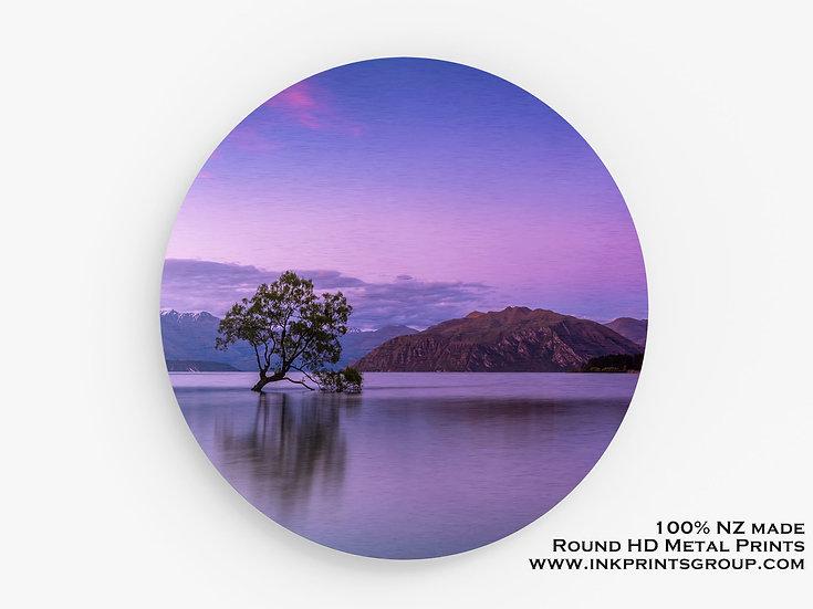 Purple Lake Wanaka Tree Large Round HD Metal Print. Landscape M0012