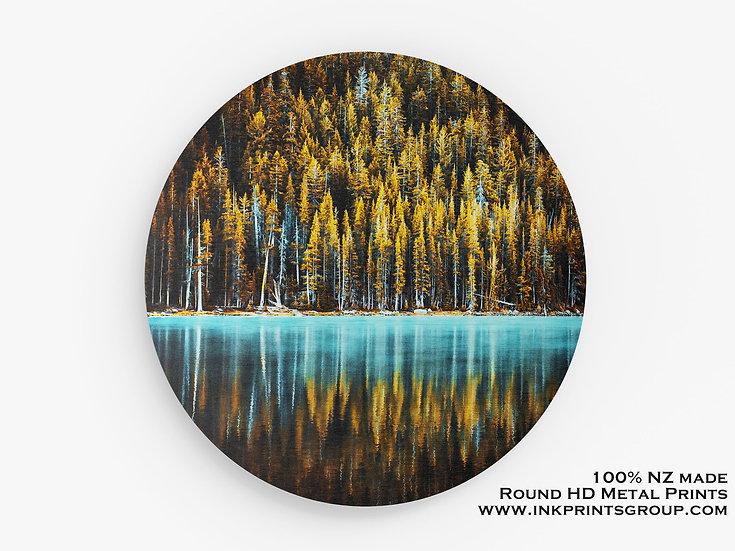 Yellow Large Round HD Metal Print. Forest. Lake M0003