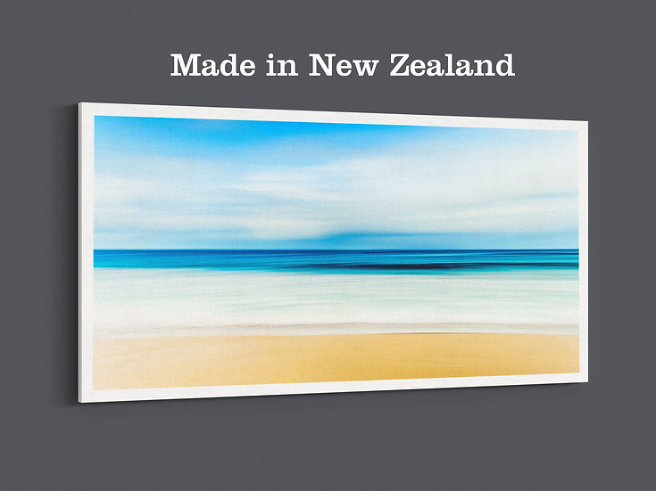 an abstract beach photo, with blue sky and white waves, on the large canvas