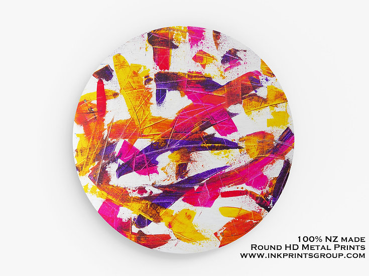 Oil Painting Printed on Large Round HD Metal Print. Abstract M0017