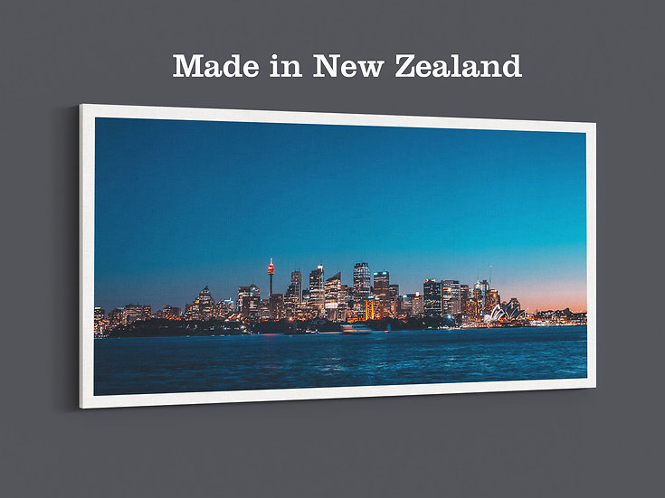 Sydney city with skyline in the dark blue background on photo canvas prints