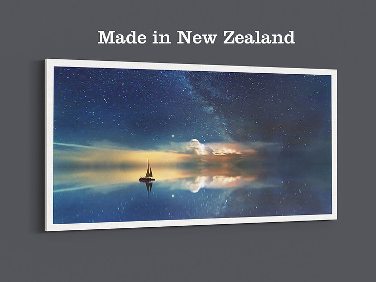 Clouds in the night sky reflecting on the sea, canvas photo