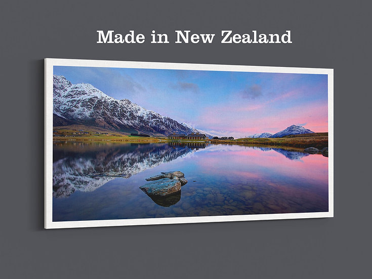 Queenstown Snow Mountain and holiday house reflection photo canvas