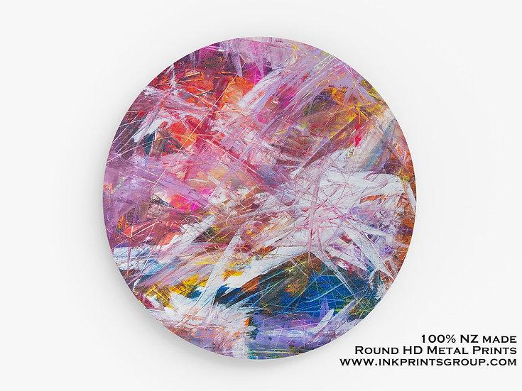 Pink Abstract Metal Print. Large Round HD Metal Print. Metal Wall Art. M0001