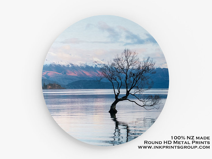 Lake Wanaka Tree, Large Round HD Metal Print.  M0008