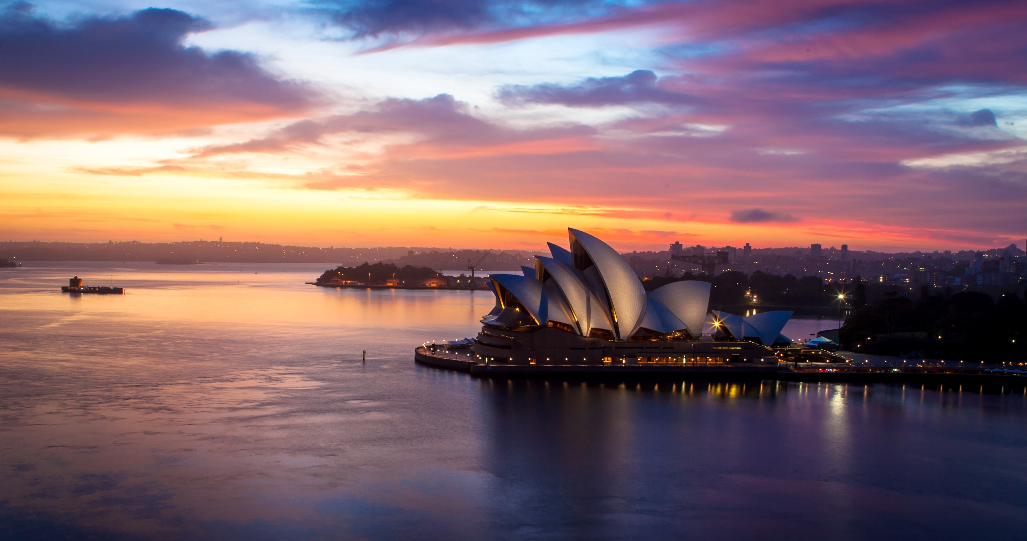 Sunset Sydney City Photo Canvas