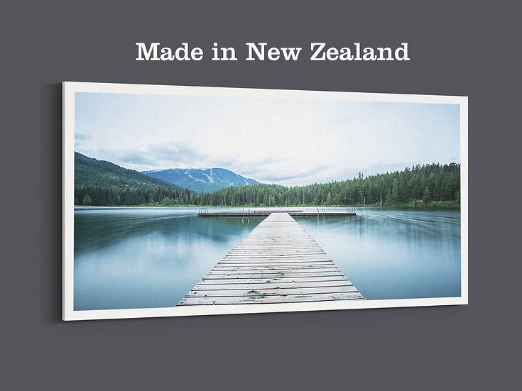 Small wharf in the lake on the photo canvas