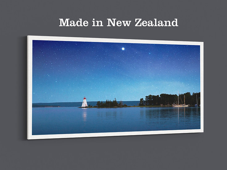 Night sky blue sea white lighthouse and boat on a large photo canvas