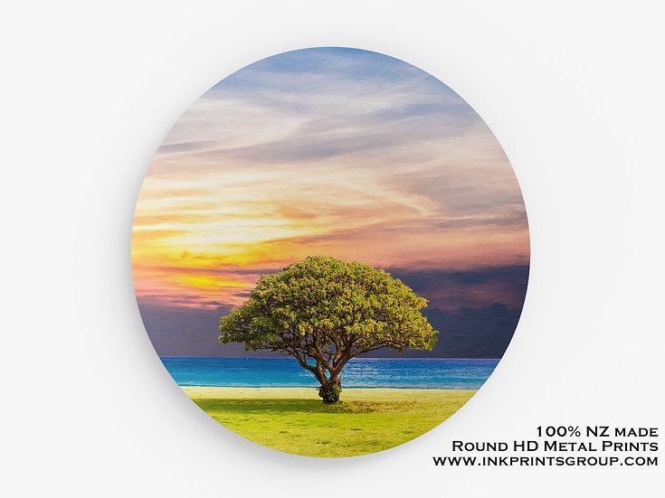 Tree, Large Round HD Metal Print. Landscape M0024