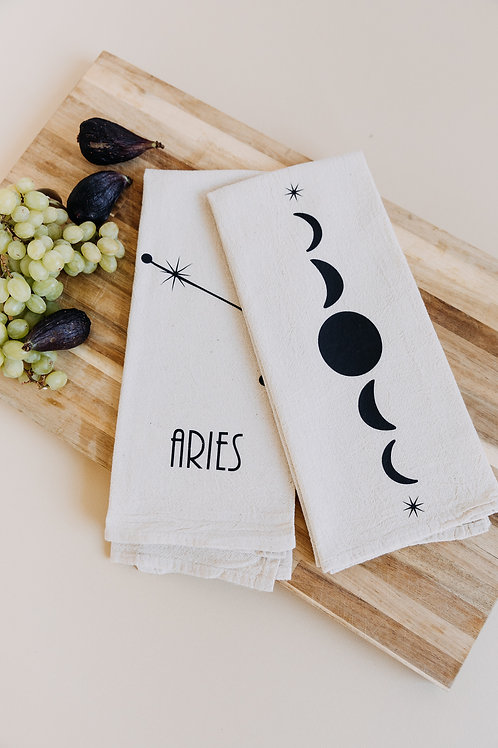 Zodiac Constellation + Moon Phases Tea Towels- Set of 2