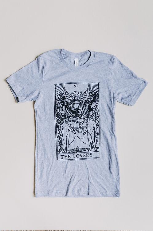 """The Lovers"" Tarot Card Unisex T-Shirt- Heather Grey"