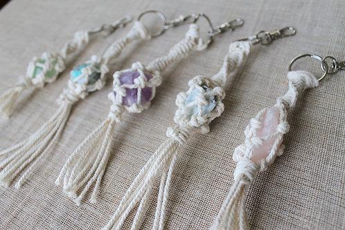Macrame Crystal Keychain