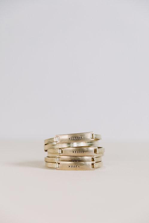 Zodiac Clip-Cuff Brass Bracelet