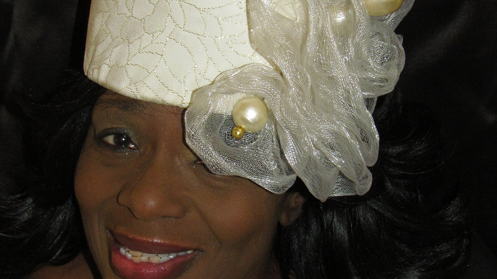 Women's Cream and Gold Dressy, Church or Wedding Hat
