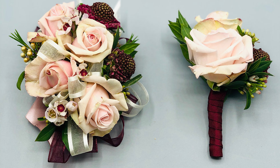 Standard Blush and Burgundy Prom Corsage and Boutonniere Set