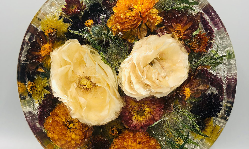 "9"" round resin block bridal bouquet preservation"