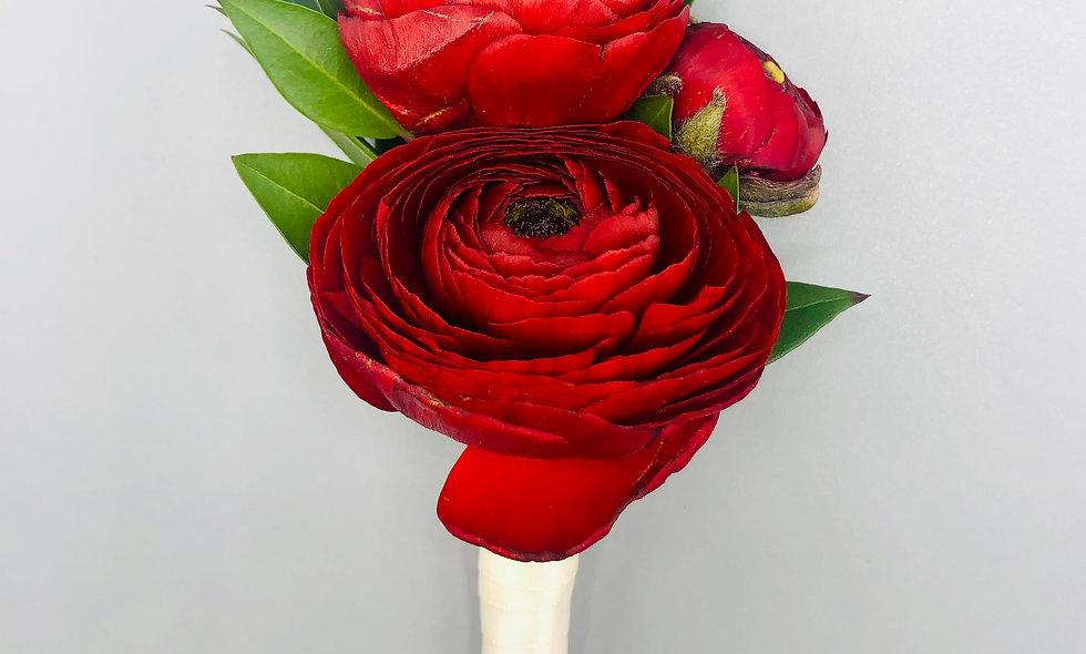Premium Red Ranunculus Boutonniere
