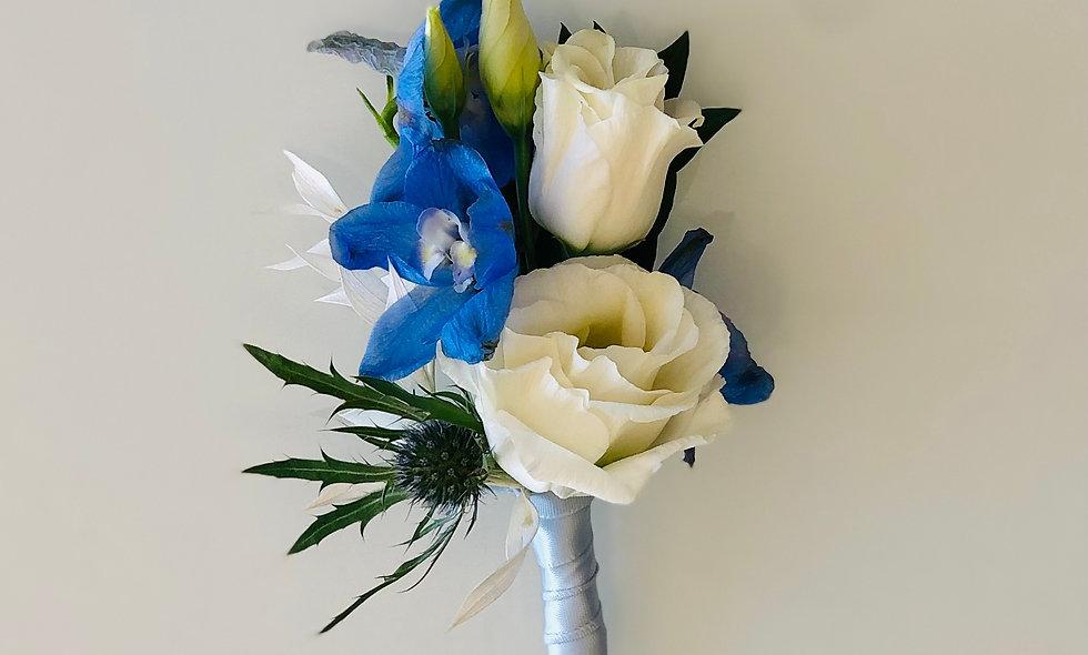 Premium Blue and White Boutonniere