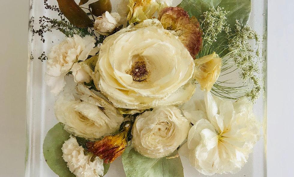 "8"" square resin block bridal bouquet preservation"