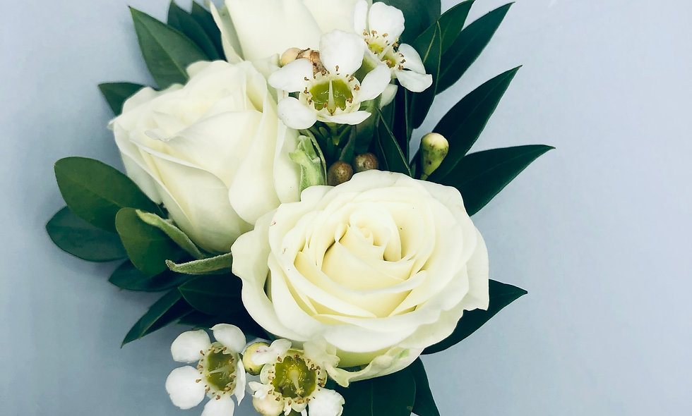 Classic White Spray Rose Boutonniere