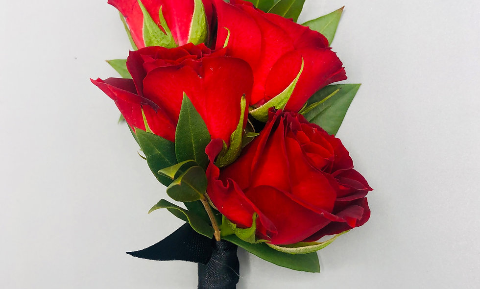 Classic Red Spray Rose Boutonniere