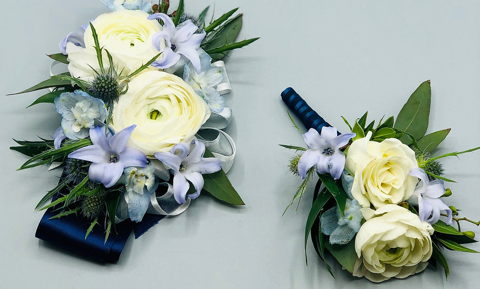 Premium Blue and White Corsage and Boutonniere Set