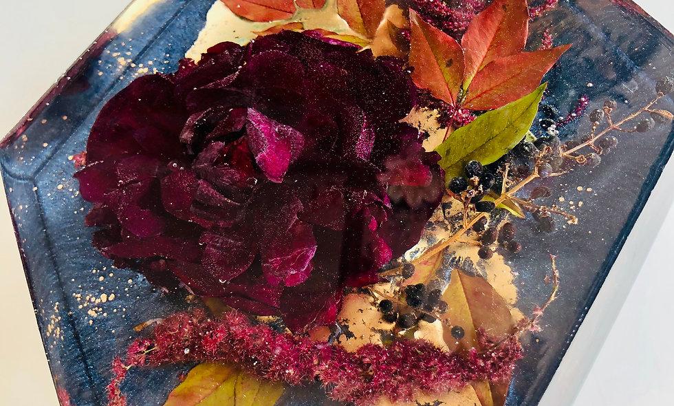 "10"" Hexagon Resin Block Bridal Bouquet Preservation"
