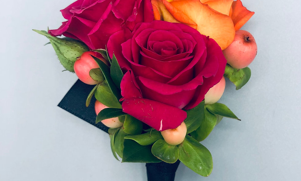 Hot Pink and Orange Spray Rose Boutonniere