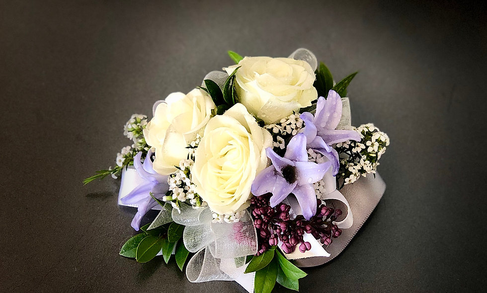 Standard White Spray Rose Corsage with accent color of your choice.