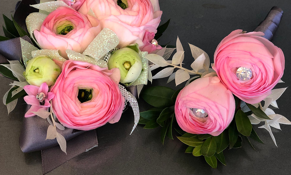 Premium Pink Corsage and Boutonniere