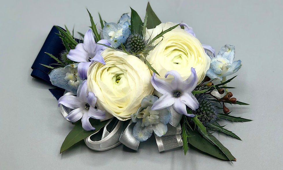 Blue and White wrist corsage