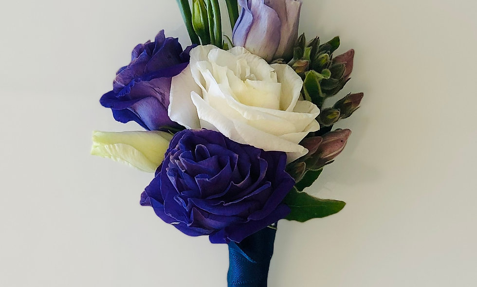 Royal Purple and White Lisianthus Boutonniere