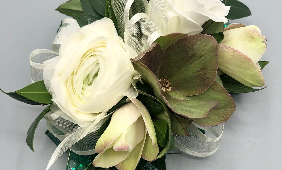 Hunter Green and White Corsage