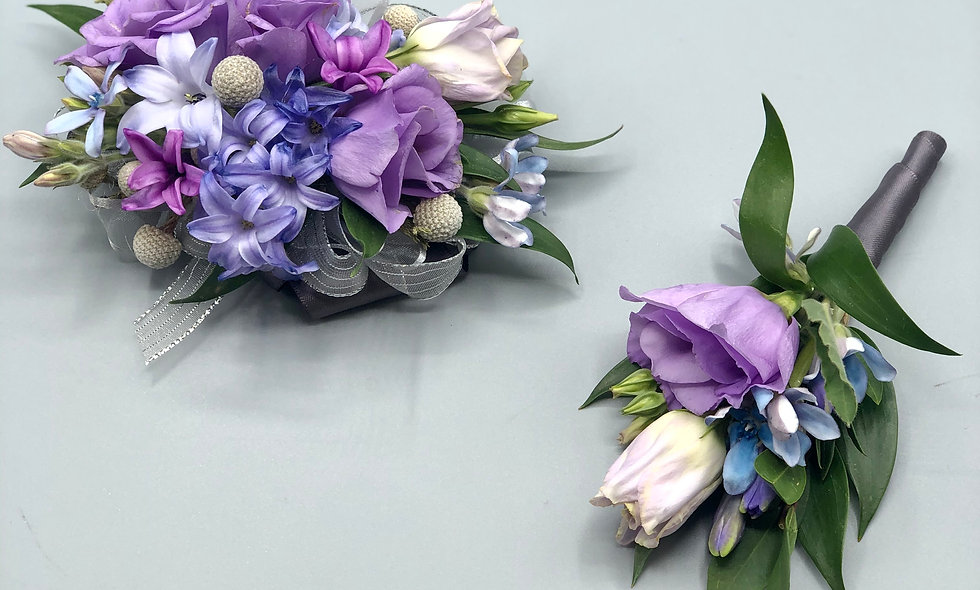 Premium Lilac and Lavender Prom Corsage and Boutonniere Set