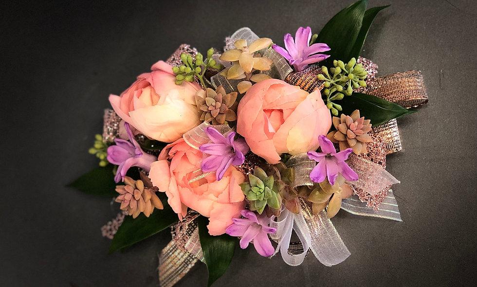 Premium Peach and Lavender Wrist Corsage with Succulents