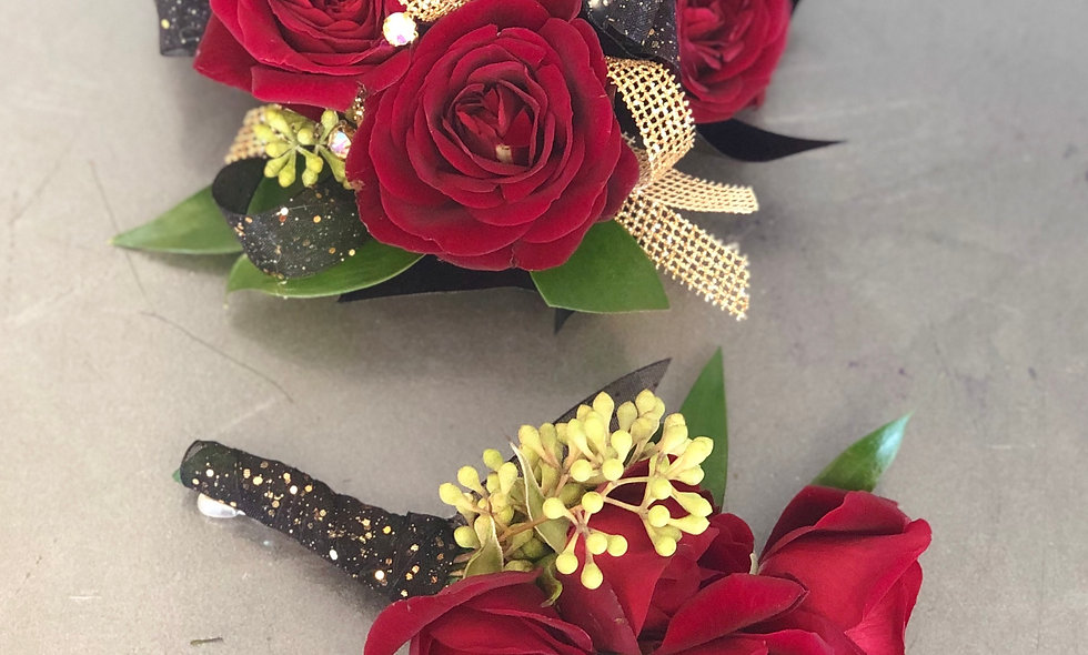 Classic Red Rose Wrist Corsage and Boutonniere Set