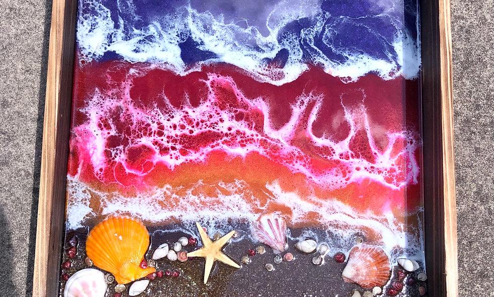 Vertical sunset beach resin art tray