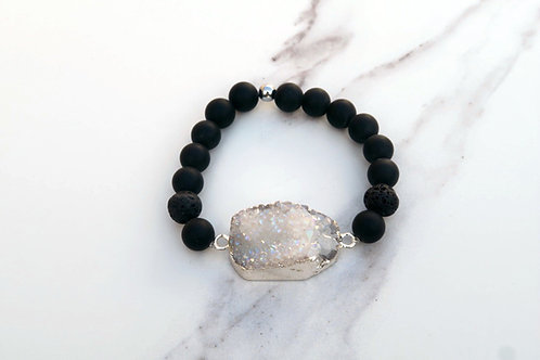 Black Jasper White Agate Druzy Bracelet