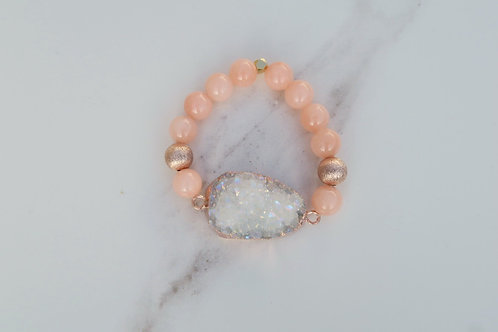 Rose Quartz Agate Druzy Bracelet