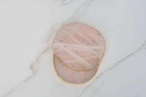 Rose Quartz Coaster x4
