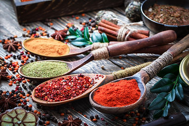 Spices and seasonings on the kitchen tab
