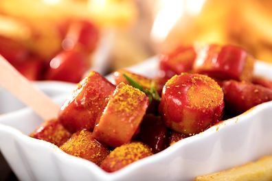 Traditional German currywurst, served wi
